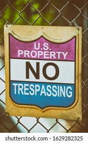 US Propery No Trespassing Road Sign.
