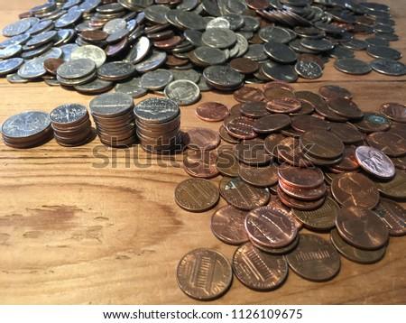 US Quarters Dimes Nickels Pennies Stock Photo (Edit Now) 1126109675 ...