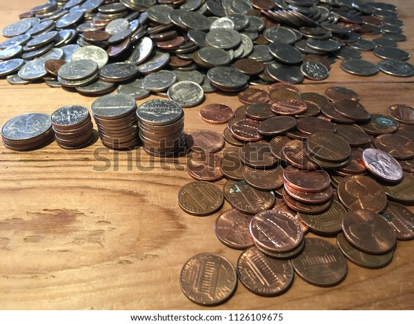 Us Quarters Dimes Nickels Pennies Stock Photo (Edit Now ...