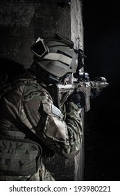 us ranger fighting at night in urban area