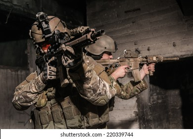 US rangers during patrol in urban area