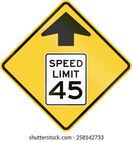 US road warning sign: Speed limit ahead