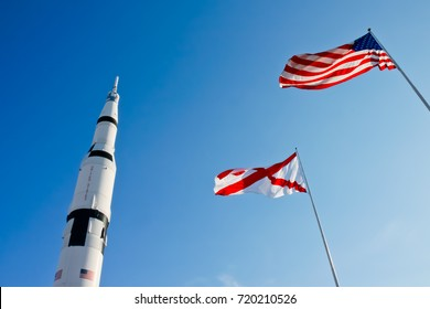 US Rocket Park with Alabama and American Flags in US Space & Rocket Center.