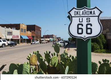 US Route 66, Oklahoma - July 7, 2014: Oklahoma Route 66 Sign along the historic Route 66 in the State of Oklahoma, USA.