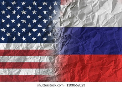 US and Russia on crumpled paper, policy and relations concept