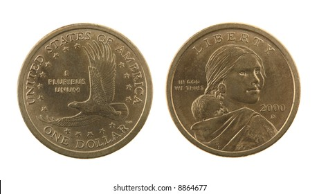 US Sacagawea dollar coin isolated on white – obverse and reverse