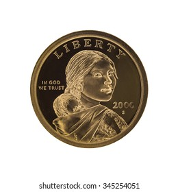 US Sacagawea - one dollar coin, isolated on white
