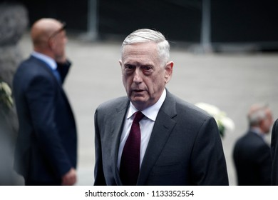 US Secretary of Defence James Mattis  arrives for a working dinner of NATO members at the Parc du Cinquantenaire in Brussels, Belgium on Jul. 11, 2018