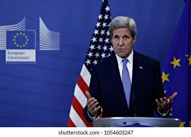 U.S. Secretary of State John Kerry speaks during a media conference at EU headquarters in Brussels on Monday, June 27, 2016.