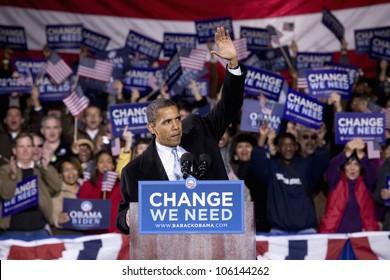 US Senator Barack Obama at Change We Need Presidential rally October 30, 2008, at Verizon Wireless Virginia Beach Amphitheater in Virginia Beach, VA