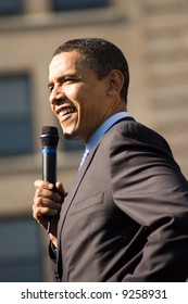 U.S. Senator Barack Obama (D-IL) campaigns at a rally in Rodney Square February 3, 2008 in Wilmington, Delaware.