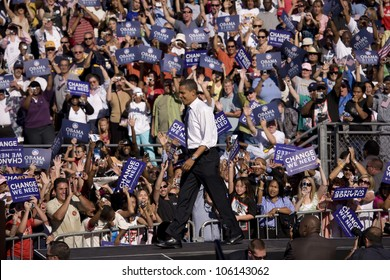 US Senator Barack Obama on platform at Early Vote for Change Presidential rally at Bonanza High School, Judy K. Cameron Stadium in Las Vegas, NV, October 25, 2008
