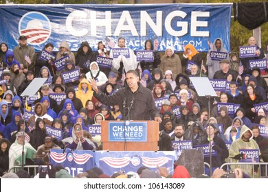 US Senator Barack Obama speaking at podium in pouring rain at Presidential Rally on October 28, 2008, at Widener University in Chester, PA