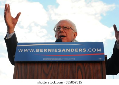 U.S. Senator Bernie Sanders of Vermont speaks at a rally in Concord, New Hampshire, on November 5, 2015, just after filing to run in the Democratic presidential primary.