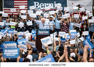 U.S. Senator Bernie Sanders, who is campaigning for a 2020 presidential bid, speaks to supporters at Grand Park in downtown Los Angeles on Saturday March 23, 2019, Los Angeles, Calif.