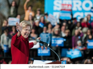 U.S. Senator Elizabeth Warren, D-Massachusetts, campaigns for Hillary Clinton at St. Anselm College in Manchester, N..H., on Oct. 24, 2016.