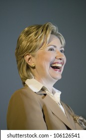U.S. Senator, Former First Lady and Presidential Candidate, Hillary Clinton, smiling during rally after Iowa Democratic Presidential Debate, Drake University, Des Moines, Iowa, August 19, 2007