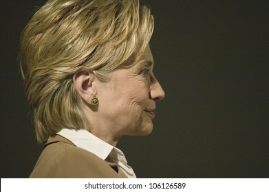 U.S. Senator, Former First Lady and Presidential Candidate, Hillary Clinton, listening at rally following Iowa Democratic Presidential Debate, Drake University, Des Moines, Iowa, August 19, 2007
