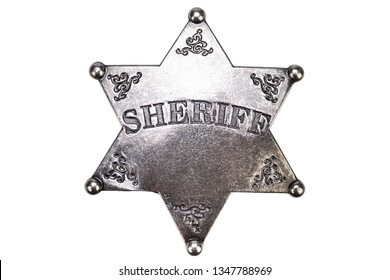 US Sheriff badge from the wild west on white background