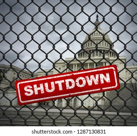 US shutdown and United States government closed and American federal shut down due to spending bill disagreement between the left and the right as a national symbol.