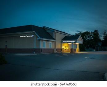 US Small Town Drive Thru Pharmacy at dawn