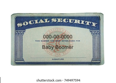 US Social Security card with Baby Boomer text, isolated on white