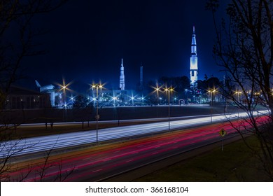 U.S. Space and Rocket Center Huntsville, AL with highway traffic.