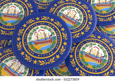 US State Buttons: Pile of New Hampshire Flag Badges, 3d illustration