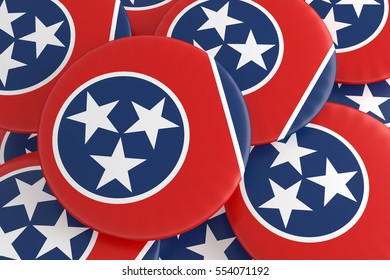 US State Buttons: Pile of Tennessee Flag Badges, 3d illustration