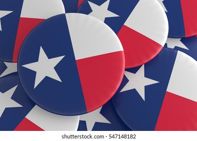 US State Buttons: Pile of Texas Flag Badges, 3d illustration