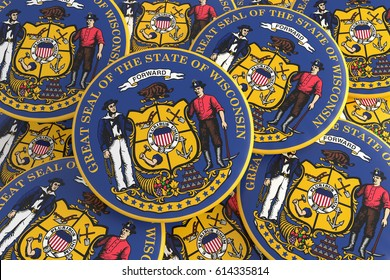 US State Buttons: Pile of Wisconsin Seal Badges, 3d illustration