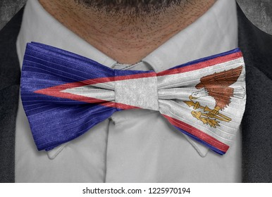 US state Flag of American Samoa on bowtie business man suit