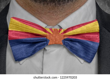 US state Flag of Arizona on bowtie business man suit