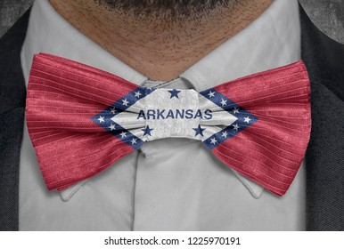 US state Flag of Arkansas on bowtie business man suit