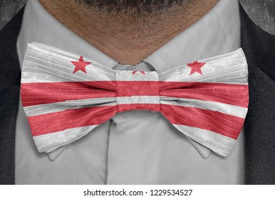 US state Flag of District of Columbia on bowtie business man suit