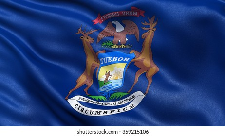 US state flag of Michigan with great detail waving in the wind.
