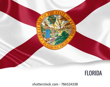 U.S. state Florida flag waving on an isolated white background. State name included below the artwork.