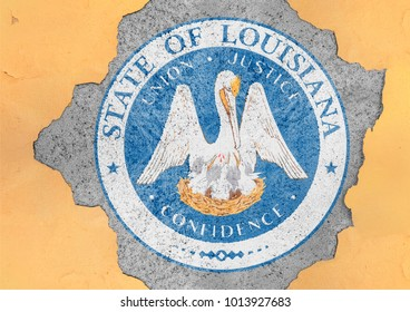 US state Louisiana seal flag in big concrete cracked hole and broken material facade structure