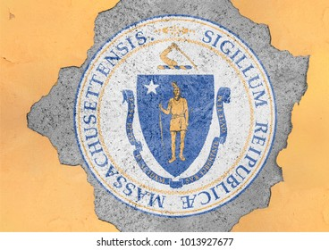 US state Massachusetts seal flag painted on concrete hole and cracked wall facade structure