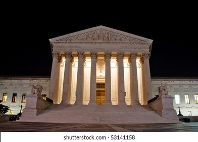 The US Supreme Court building at night in horizontal