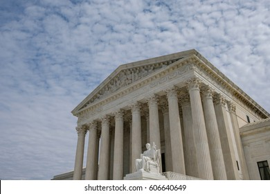 U.S. Supreme Court - wide angle with blue sky and clouds