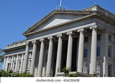 The US Treasury Department Building in Washington, DC
