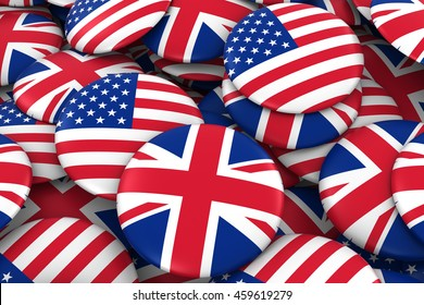 US and UK Badges Background - Pile of American and British Flag Buttons 3D Illustration