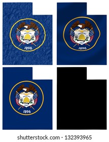 US Utah state flag over map collage