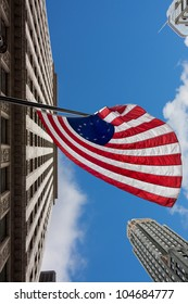 US variant Betsy Ross flag in Chicago and sky scrapers