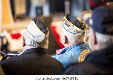 U.S. veterans Armando 'Chick' Galella and John Seelie both Pearl Harbor survivors attend the Memorial Day Ceremony on the Intrepid Sea, Air & Space Museum, Fleet Week NY 2017, NEW YORK MAY 29 2017.
