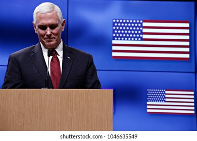 US Vice President Mike Pence and Donald Tusk President of the European Council give a press conference in Brussels, Belgium on Feb. 20, 2017.