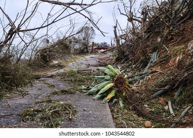 US Virgin Island Home damaged from hurricane Irma and Maria. Damage from storms in the Caribbean Islands.
