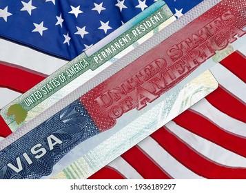 U.S.  VISA United States of America. American Lottery Green Card Visa on flag background. - Shutterstock ID 1936189297