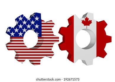 US working with Canada, Two cogwheel gear mechanism pieces with the US flag and Canadian flag isolated over white